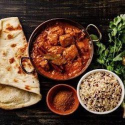 goat curry ,nan bread ,rice