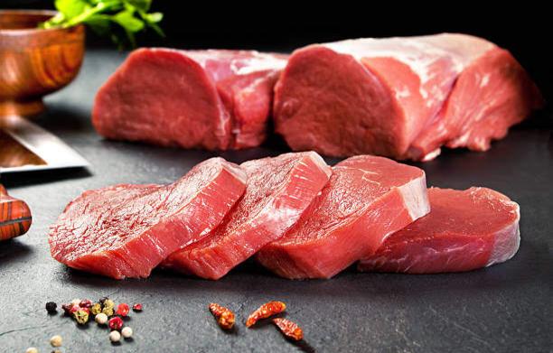 fresh pork on slate